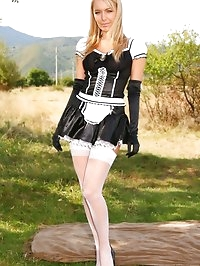 Sexy french maid decides to relax and takes off her uniform.