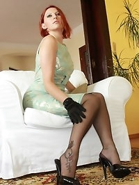 sexy redhead in nylons and mules