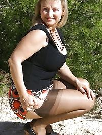 Fleshy mum loves outdoor sex