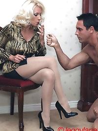 Leggy Lana has some smoking fun with her slave
