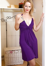 Elegant mom Tara Trinity slide out of her purple dress and..