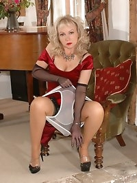 blonde toys her layered nylons