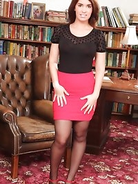 Busty Kirstie in the study