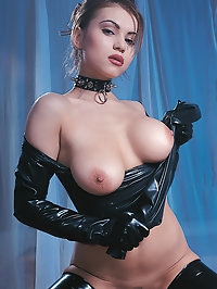 Pornstar Ellen in latex boots is a kinky slut who loves cock