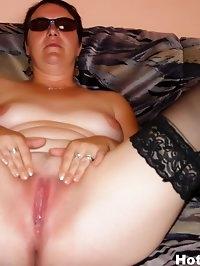 Brunette MILF Eva toys her pussy and fucks outdoors