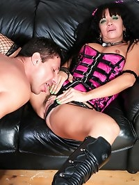 Hairy brunette MILF wants some anal action