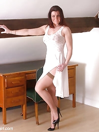 Sultry brunette Jackie in brown lacy stockings