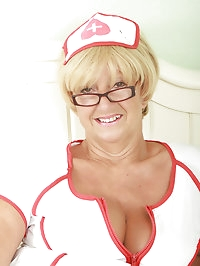 62 year old Samantha from AllOver30 plays a horny nurse in..