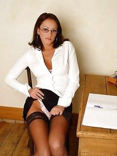 Secretary Nylon Babes